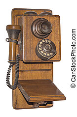 Antique wooden telephone, isolated