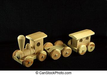 antique wooden train - childs wooden train
