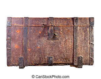 Antique wooden trunk on white