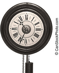 Antique wooden wall clock in sepia color