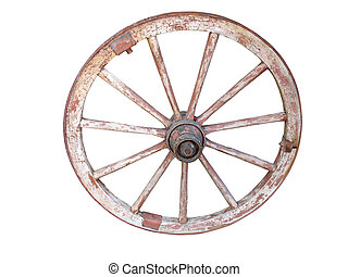 antique wooden wheel isolated on white