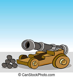 Antique Wooden Wheeled Cannon - An image of a antique wooden...