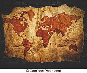 Antique world map in grunge wooden frame stock image search photos antique world map in black wooden background gumiabroncs Gallery