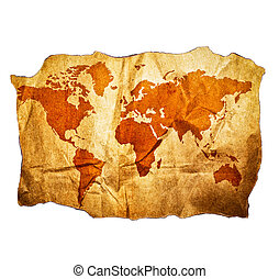 Antique World map with beautiful grunge details isolated on white background