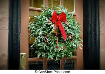 antiqued, krans, deur, kerstmis, hangend