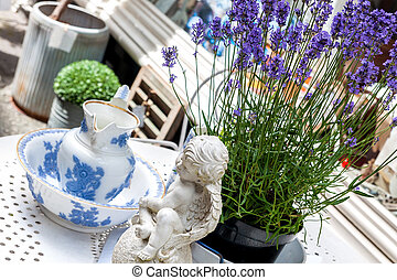 Antiques and knick-knacks - Still life with old porcelain, ...