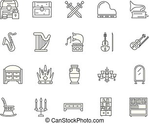 Antiques line icons, signs, vector set, outline illustration concept