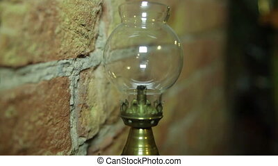 Antiques. Manual Movie. Oil lamp on the wall