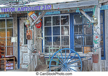 Antiques sales 021 - View of antique shop on roadside with...