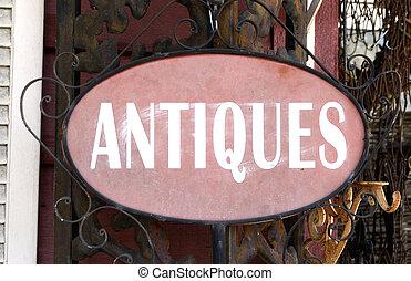 antiquitäten, landschaftsbild, zeichen
