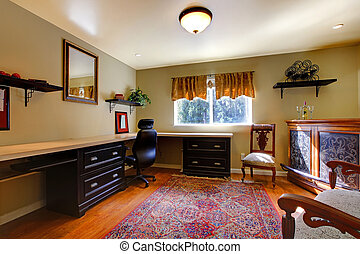 antiquité, élégant, salle, bureau