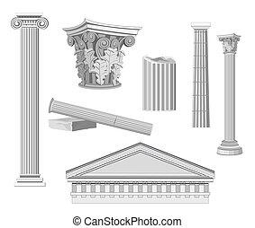 antiquité, éléments, architectural