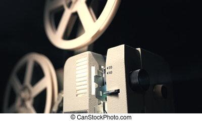 antiquité, 8mm, projecteur, room., vendange, démodé, light., cinematograph, sombre, faisceau, projeter, retro, objets, jouer, super, concept., pellicule