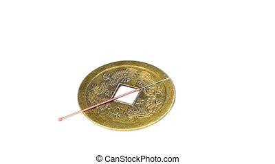 antiquité, acupuncture, chinois, aiguille, monnaie