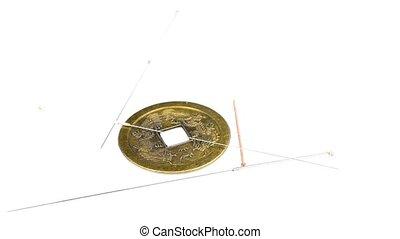 antiquité, acupuncture, chinois, aiguilles, monnaie
