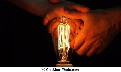 antiquité, ampoule, femme, filament, homme