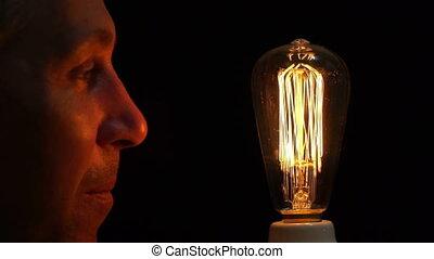 antiquité, ampoule, filament, amusement, homme