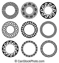 antiquité, ancien, modèle, -, seamless, grec, ensemble, grèce, frontières, rond