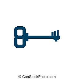 antiquité, ancien, porte, isolated., objet, arrière-plan., clã©, vieux, blanc, clef