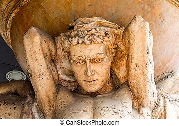antiquité, ancien, tient, ciel, atlas, sculpture, marbre