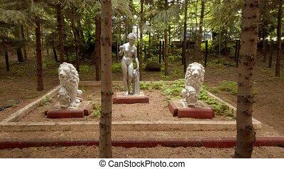 antiquité, arbres, sapin, cour, sculptures