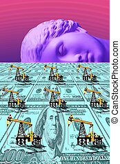 antiquité, art, collage., dollar, contemporain, surréaliste, pompe, field., cric, statue, tête