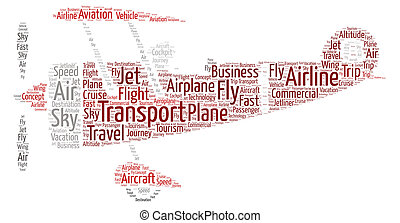 antiquité, avion, mot, rouges, nuage