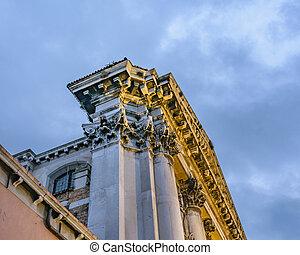 antiquité, bâtiment, italie, venise, extérieur, église, vue