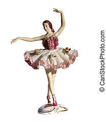 antiquité, ballerine, dresde, dentelle, porcelaine, isolé, figurine, blanc
