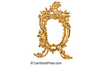 antiquité, baroque, laiton, cadre, isolé, blanc