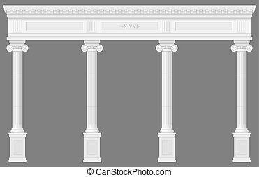 antiquité, blanc, colonnade