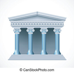 antiquité, bleu, grec, devant, vecteur, temple., vue