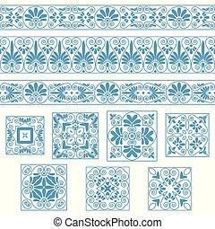 antiquité, bleu, tuiles, ensemble, vieux, grec, couleurs, collections, ornaments., frontières, blanc