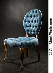 antiquité, bleu, velours, salle, sombre, chaise