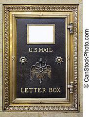 antiquité, boîte, nous, lettre, courrier, laiton