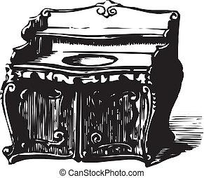 antiquité, bois, cabinet