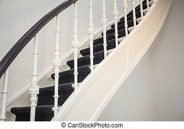 antiquité, bois, détail, haut, luxe, fin, escalier, maison