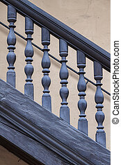 antiquité, bois, escalier, balustrade