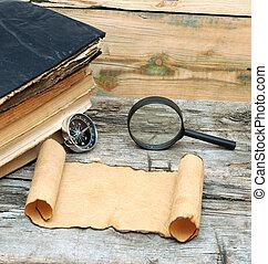 antiquité, bois, loupe, papier, livres, fond, compas, pile, rouleau