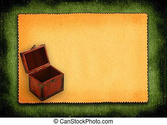 antiquité, bois, papier, coffre