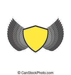 antiquité, bouclier, manteau, héraldique, emblem., gabarit, logo., ailes