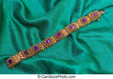 antiquité, bracelet, améthyste