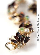 antiquité, brun, bracelet, or