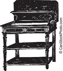 antiquité, bureau, bois