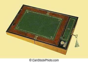 antiquité, bureau bois, isolé, sur, jaune