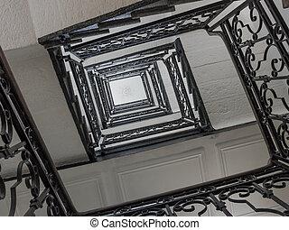 antiquité, carrée, escalier, escalier, staircase., métal, béton, dessus, cage escalier, vue