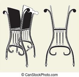 antiquité, chaise, étagère