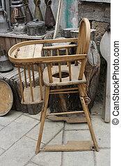 antiquité, chaise bébé, vieux