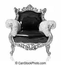 antiquité, chaise, blanc, isolé
