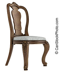 antiquité, chaise bois